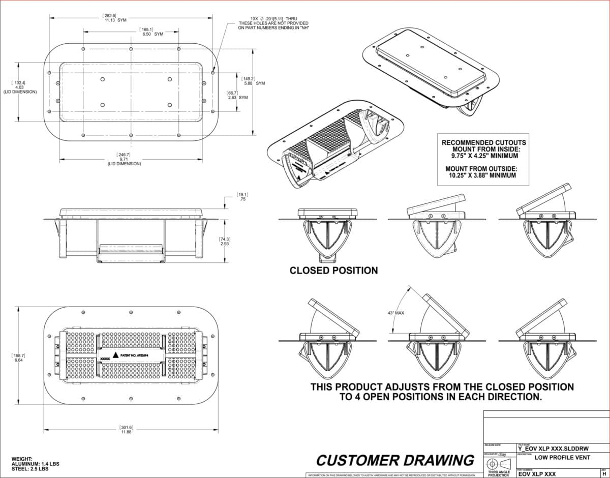 1 Pair Black Aluminum Popup Air Flow Roof Vent Low Profile